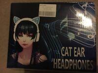 Headphones, Cat Ear, Light-up Blue, Girls, Black.