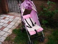 lilliput push chair with hood and under food carrier with 3 positions lilac