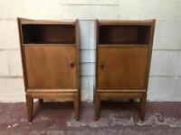 Solid vintage teak bedside cabinets