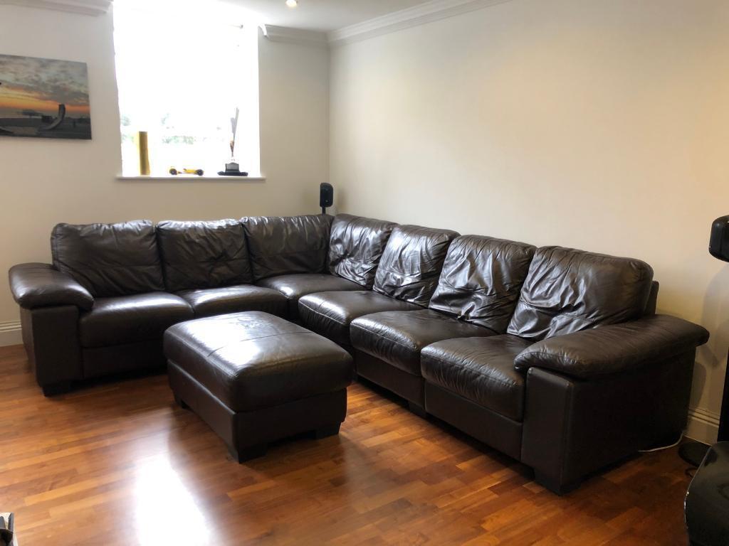 Amazing Leather Corner Sofa With Footstool Dfs Linea Model Rrp 2 697 In Clapham London Gumtree Inzonedesignstudio Interior Chair Design Inzonedesignstudiocom