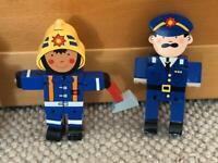Set of 6 wooden Firemen and Policeman figures