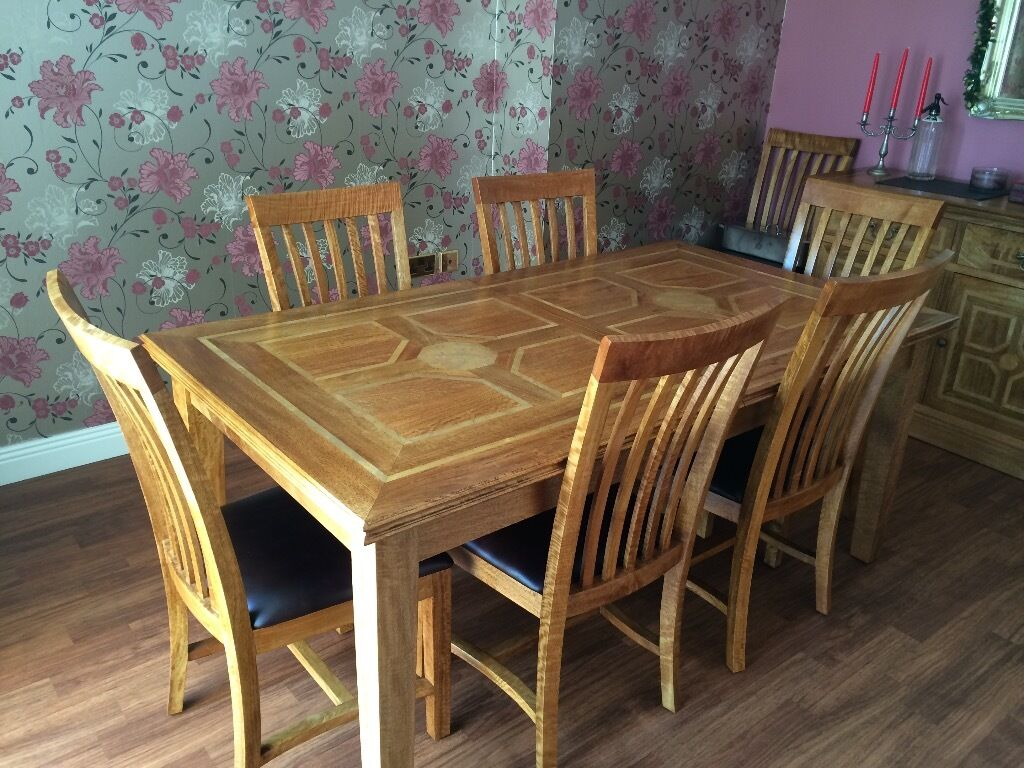 Beautiful Marks And Spencer Malabar Range Solid Wood Dining Table 8 Leather Seated Chairs
