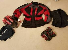 Motorcycle/moped jacket, gloves and helmet !!!!! BARGAIN !