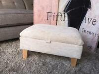 New Marks and Spencer Storage Footstool In Soft Velour Natural Fabric