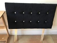 Velvet black single headboard