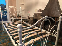 Single Bed, White Metal, Victorian Style, With Mattress