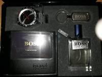 Mens Hugo boss watch aftershave wallet keyring gift set