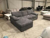 Brand new grey jumbo chord chaise corner sofa
