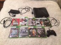 Xbox 360 Slim - 250GB - 9 Games - 1 Wireless Controller - 1 Plug and Play Charger - Original Cables