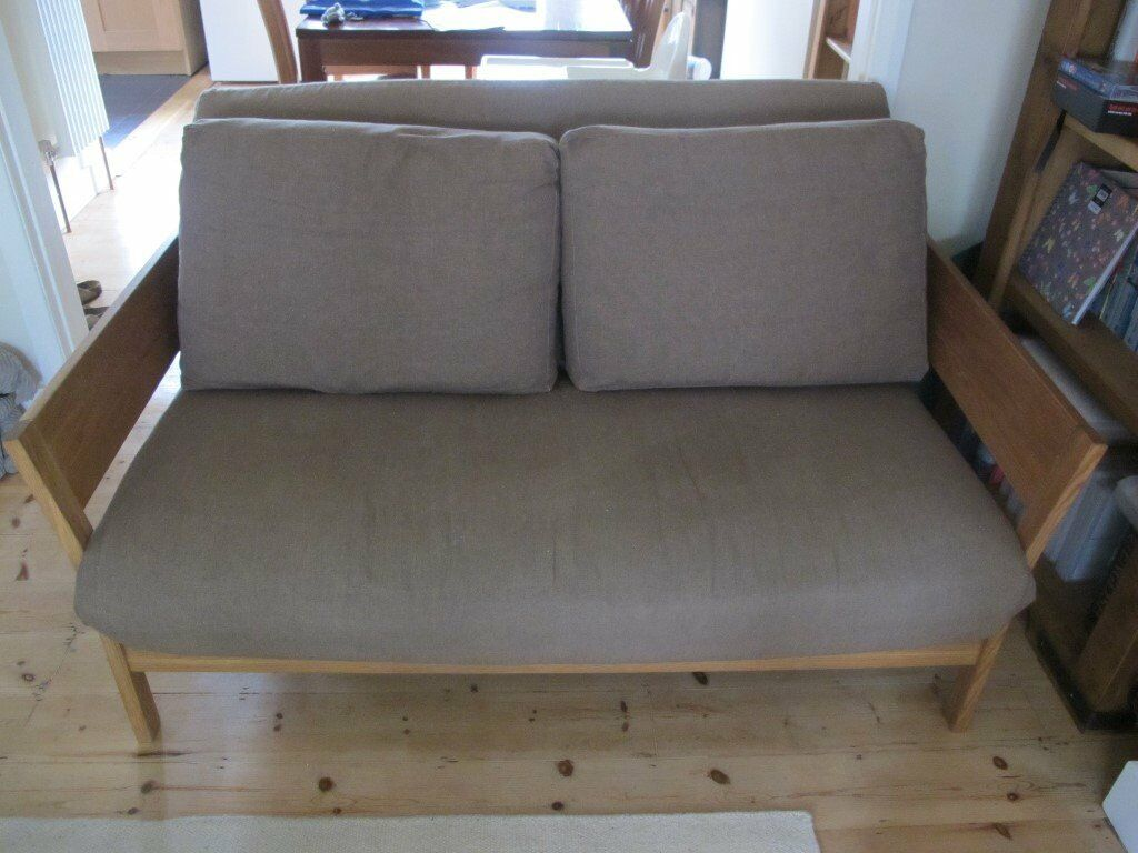 Futon company oak flare trifold double sofa bed in for Sofa bed gumtree london