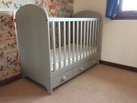 Cot bed with mattress and built in drawers