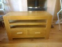 Solid Oak TV stand / Unit withDVD drawers
