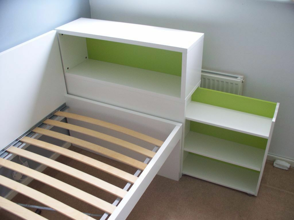 Mudroom Ideas Using Ikea Furniture ~ Ikea headboard with storage compartment, white, green  in Cambridge