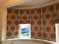 Roman blinds and curtains and pelmut