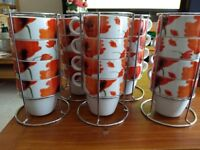 Poppy design cups