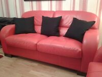 DFS RED LEATHER 3 PEICE SUITE/SOFA BED