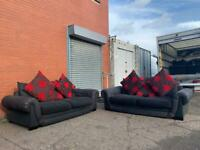 Black sofas x2 delivery 🚚 sofa suite couch furniture