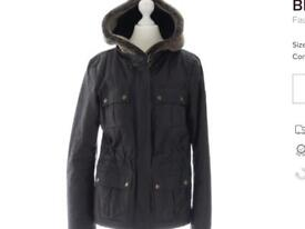 Belstaff womens waxed shearling hood quilted jacket size 42