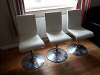 RETRO 60s STYLE DANISH SWIVEL X 3 IN WHITE LEATHER IN VERY GOOD CONDITION ...FREE LOCAL DELIVERY