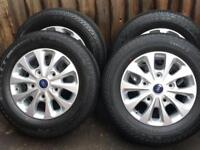 """4 x 16"""" Genuine Ford Transit Custom Alloy Wheels With Conti Tyres BRAND NEW"""