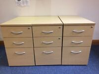 4 Maple Pedestal Filing Drawers and 2 Matching Maple Storage Cupboards