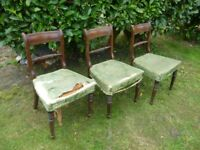 Three antique dining chairs, for restoration