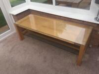 Solid oak coffee table/tv unit