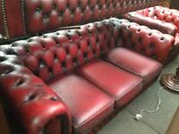 Leather Chesterfield and odd chairs