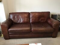 Genuine brown leather 3 seater sofa & armchair