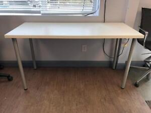 White Table Desk with Silver Post Leg - $99.00