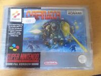 SNES Super Nintendo Cybernator with manual & protective sleeve