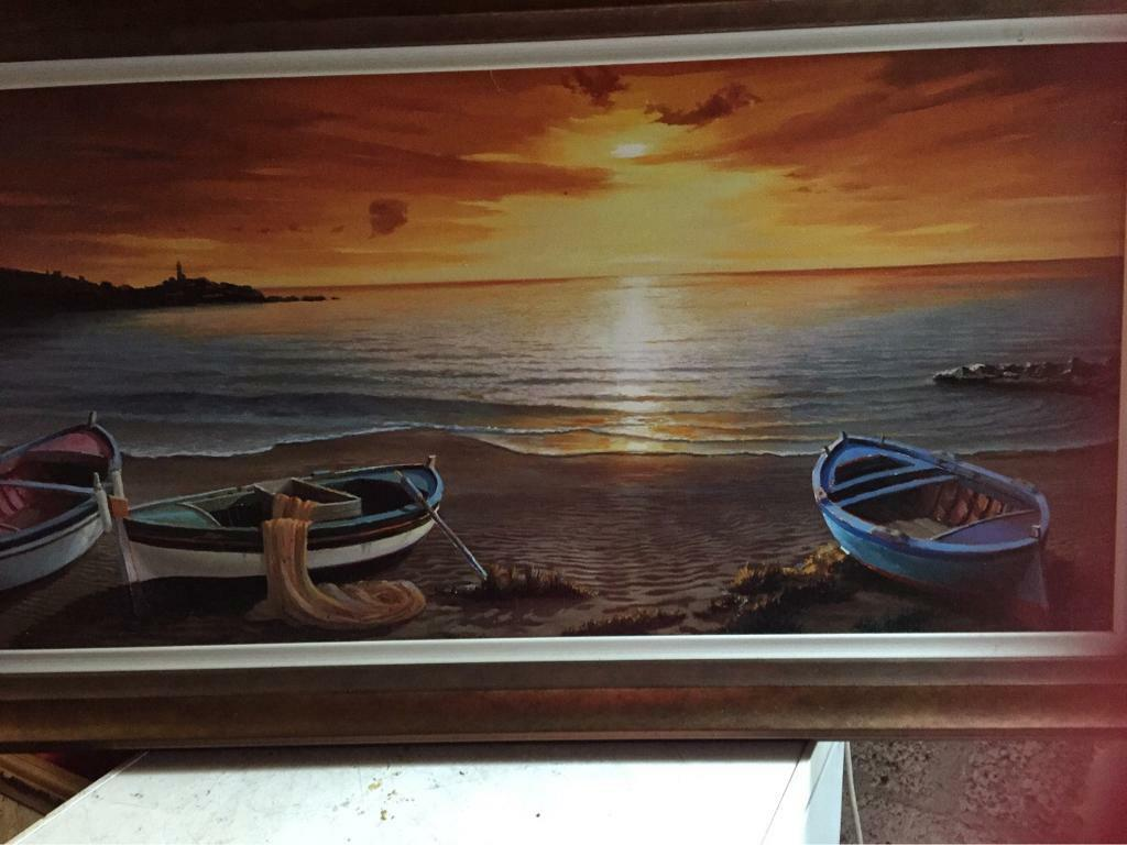 Large Boat Scene Picture with Solid Frame