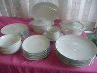 Vintage Dinner Set By Thomas W Germany White with Platinum Trim