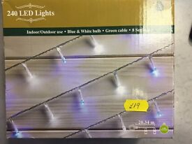 New Boxed 240 LED Lights Blue and White Was: £19