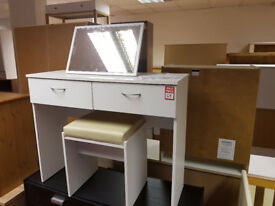 cheval dresser and footstool white