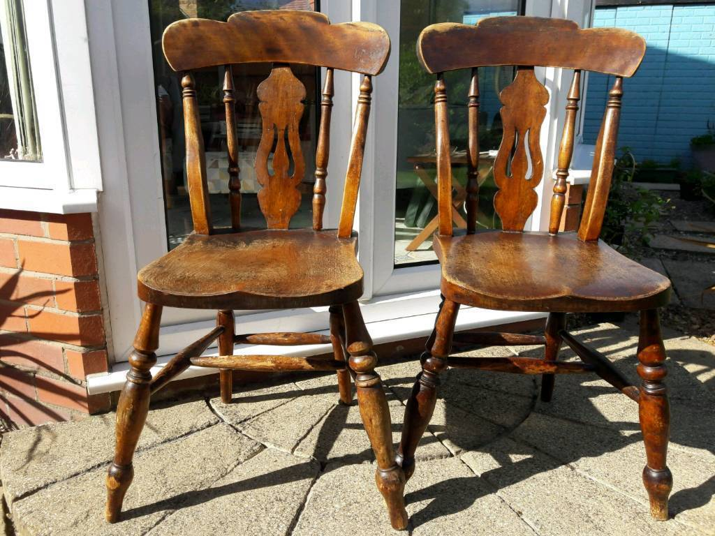 Two Old Farmhouse Wooden Chairs In Lymm Cheshire Gumtree
