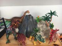 Playmobil volcano with dinosaurs