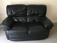 Black Leather 2 seater Sofa Excellent condition
