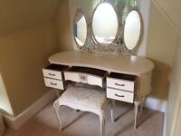 Vintage French Cream Louis III Dresser, Wardrobe and Headboard