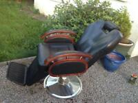 Reavertised Black leather barbers chair