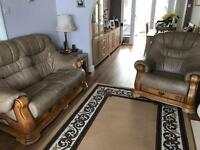 Leather 2 seater settee with solid oak draws & arm chair with draw too