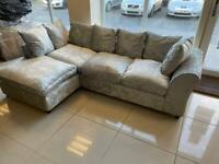Brand New 3 Seater Silver Fabric Left Hand Corner Sofa
