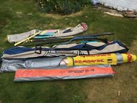 Windsurf sails, boom, mast