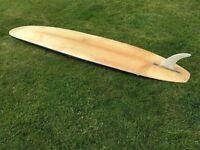 """vintage longboard surfboard single fin 8 foot by 22.5"""""""