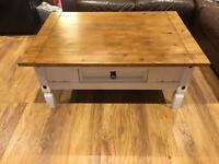 Shabby Chic Solid Wood Oak Top Coffee Table With Drawer (make me offers)