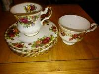Royal Albert bone China saucers cups old fashioned antique vintage