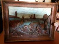 Unusual wooden 3d carved picture