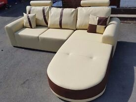 Superb BRAND NEW cream and brown leather corner sofa .Modern design.can deliver