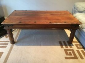 Coffee Table, dark tone timber, Indian style; overall size 1,120mm long x 620mm wide x 420mm high