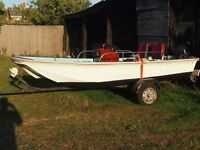 DellQuay Dory 13ft motor boat with Mariner outboard